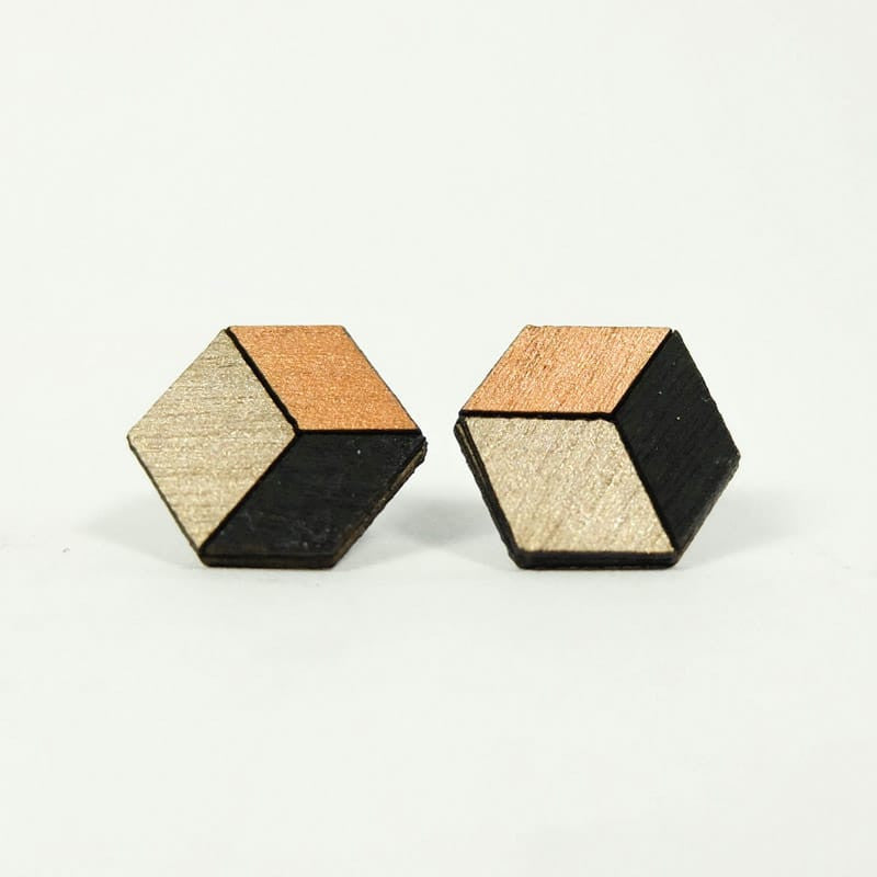 Cuboid Copper Studs