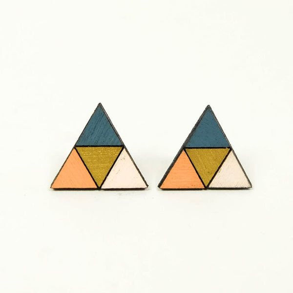 Molly M multi-color triangle wood stud earrings