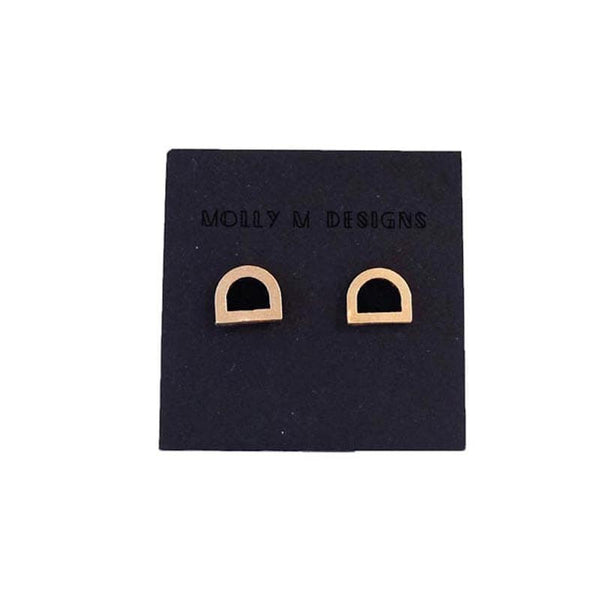 Molly M Designs Tab Stud Earrings Gold and Black