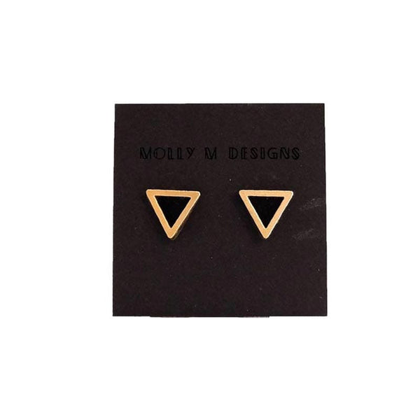 Molly M Designs Triangle Stud Earrings Gold and Black
