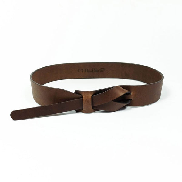Muse 1.5 Inch Buckleless Flat Brown Leather Belt