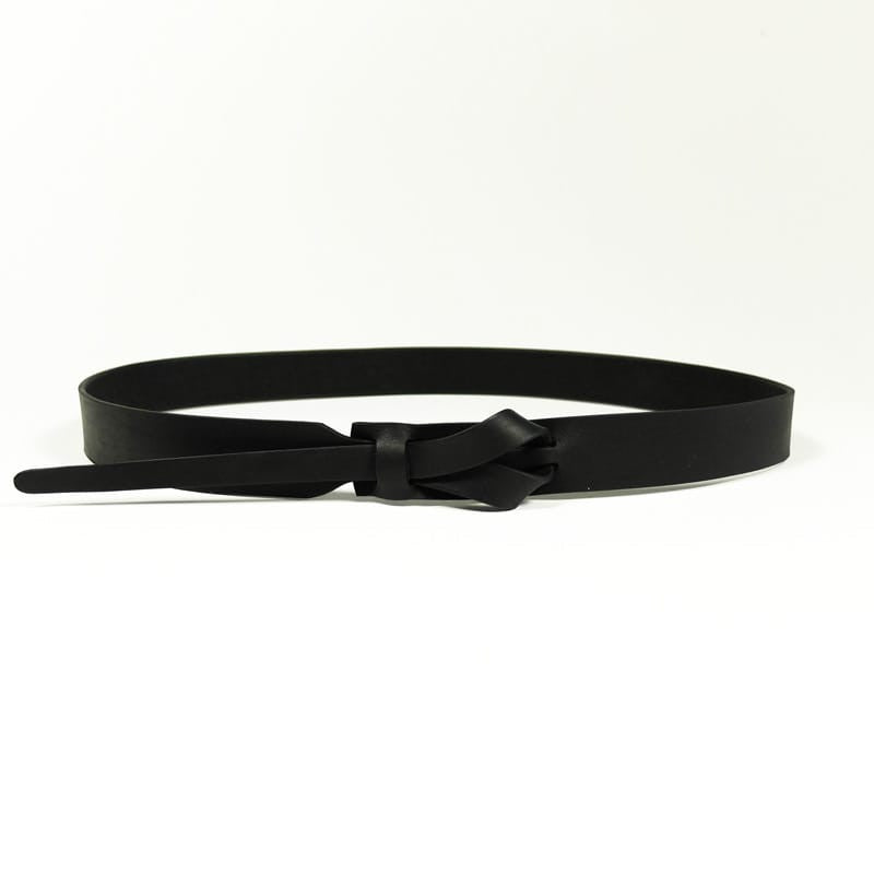Buckleless Black Leather Belt - 1""