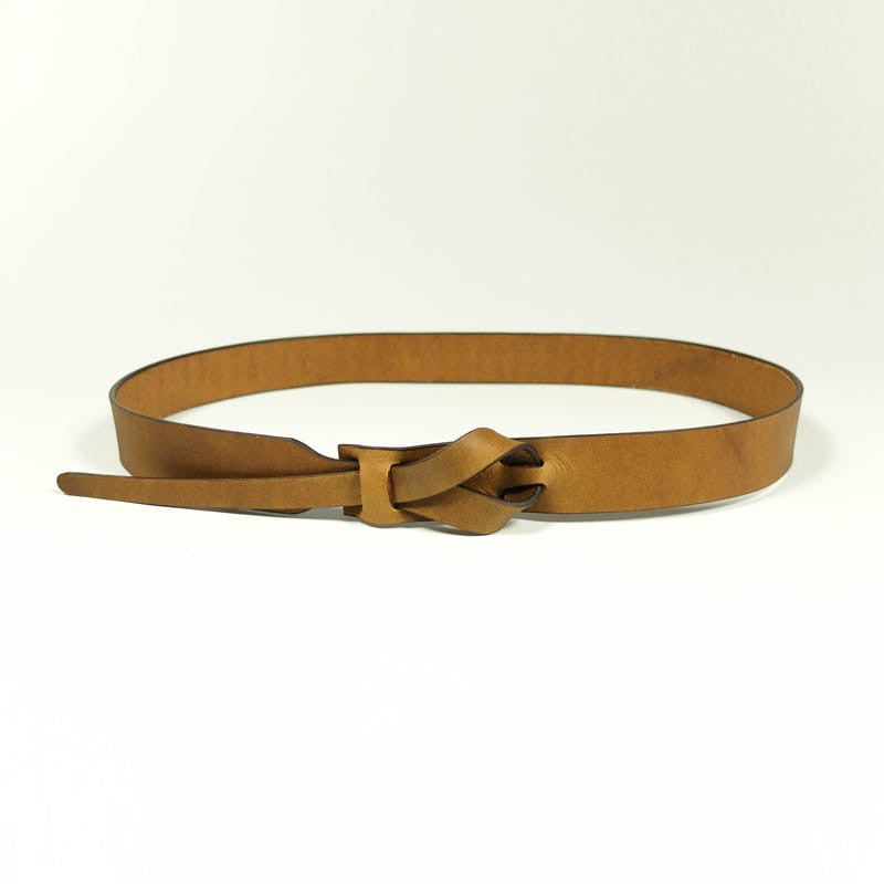 Buckleless Camel Leather Belt - 1""