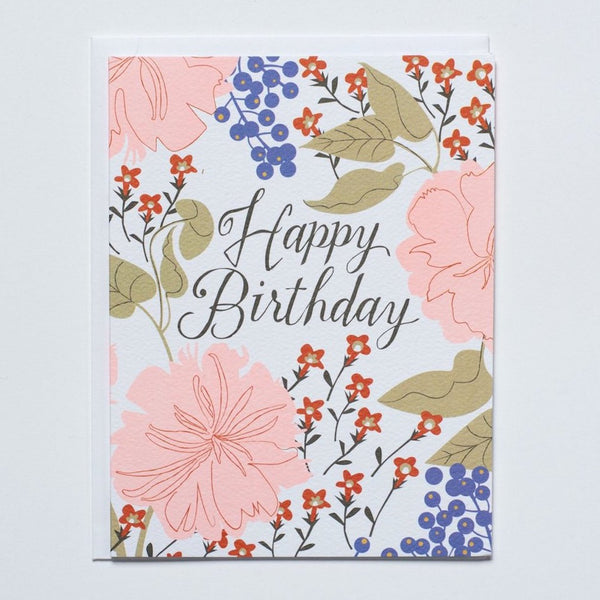 "Peachy Floral ""Happy Birthday"" Card"