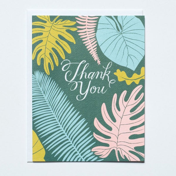 "Tropical Leaves ""Thank You"" Card"