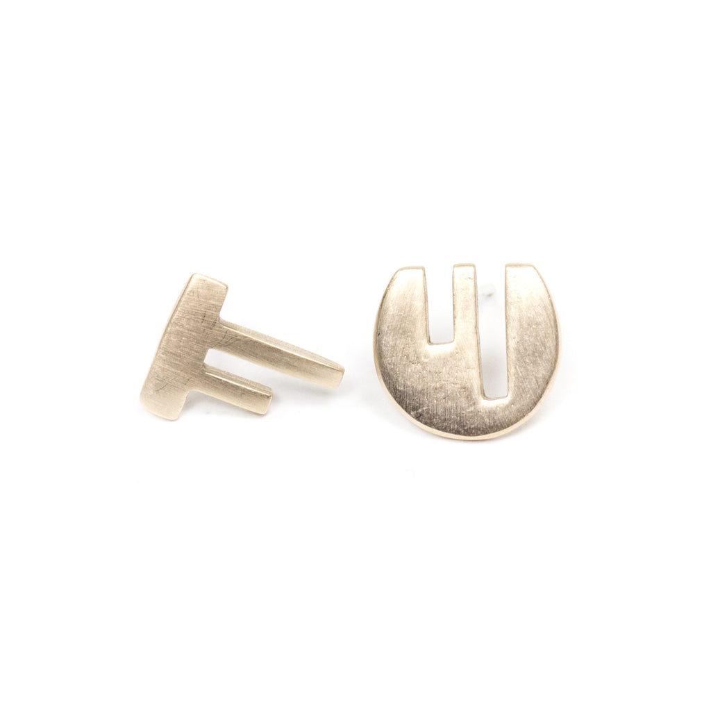 Vous et Moi stud earrings - bronze
