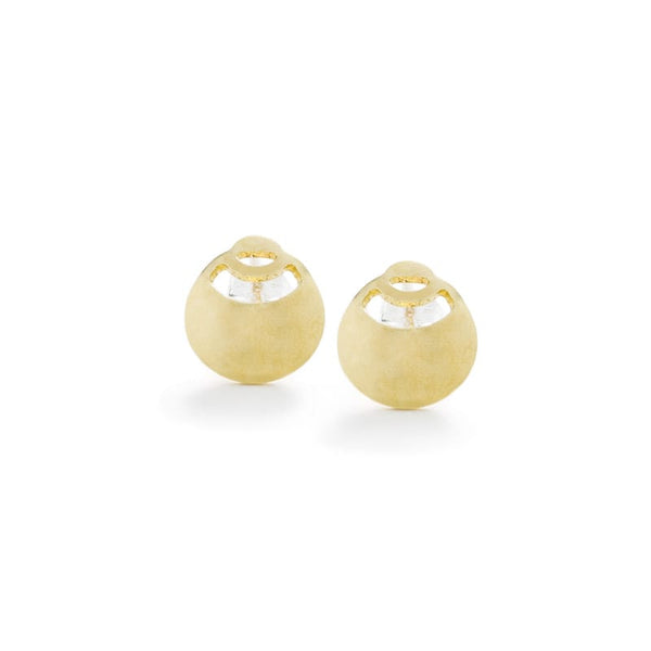 Nilo mini stud earrings in brass front