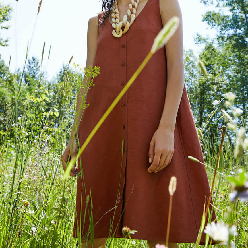 Nymphea Dress in Mahogany