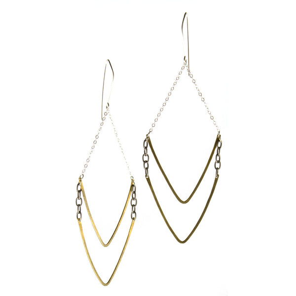 Double V brass and sterling earrings by Portland designer betsy & iya.