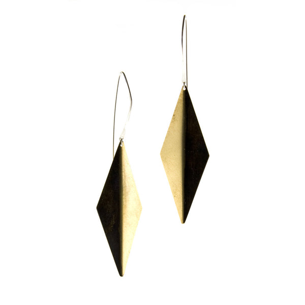 betsy & iya Sly Night earrings with oxidized brass. Black and brass geometric earrings on silver earwire.