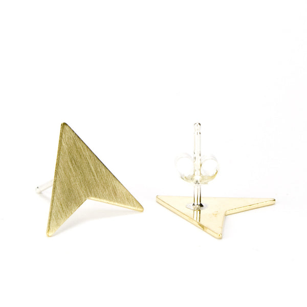 Gold arrowhead earrings with sterling silver soldered posts.