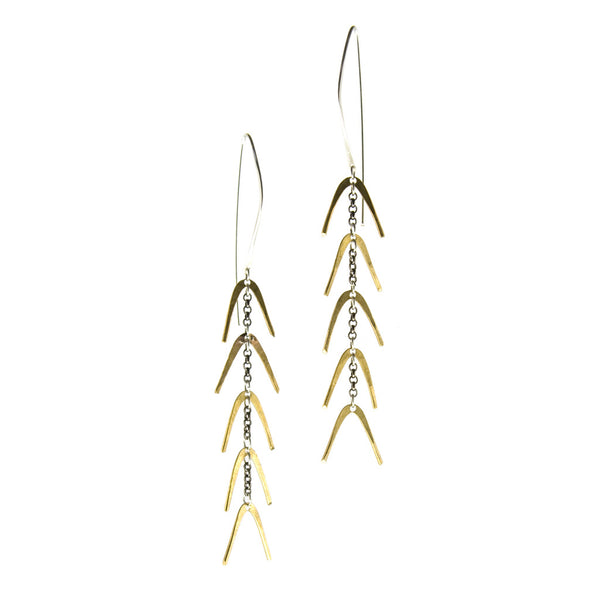 Gold dangle earrings, lightweight, full of movement, silver earwires. Gold spine betsy & iya jewelry