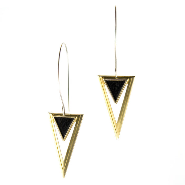 Lightweight, fierce earrings with brass and inset black triangles.