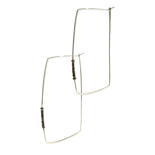 betsy & iya Sandblast Hoop earrings with beads
