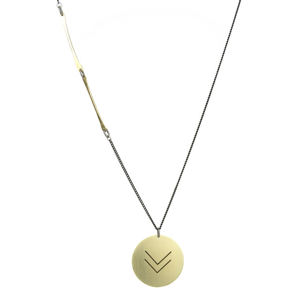 betsy & iya long, edgy necklace with double chevron pattern.