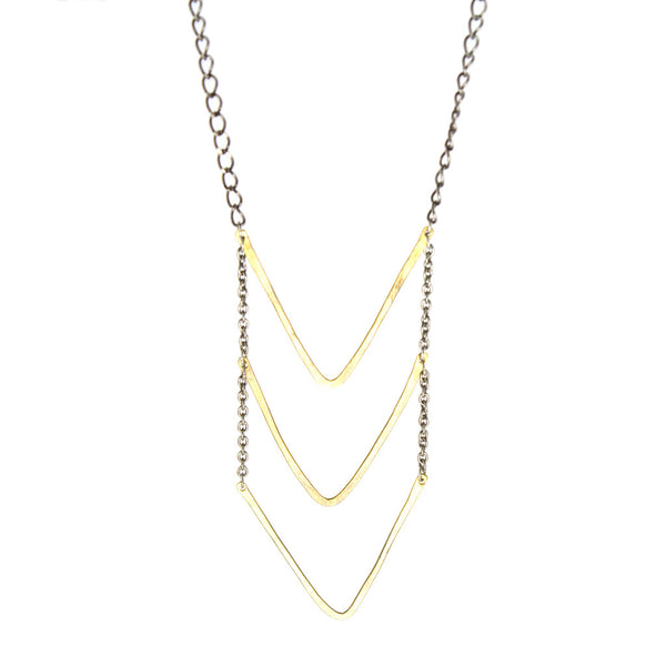 betsy & iya golden sting necklace with hammered chevrons.