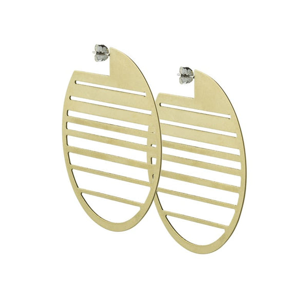 Ocaso circle statement hoops in brass side view