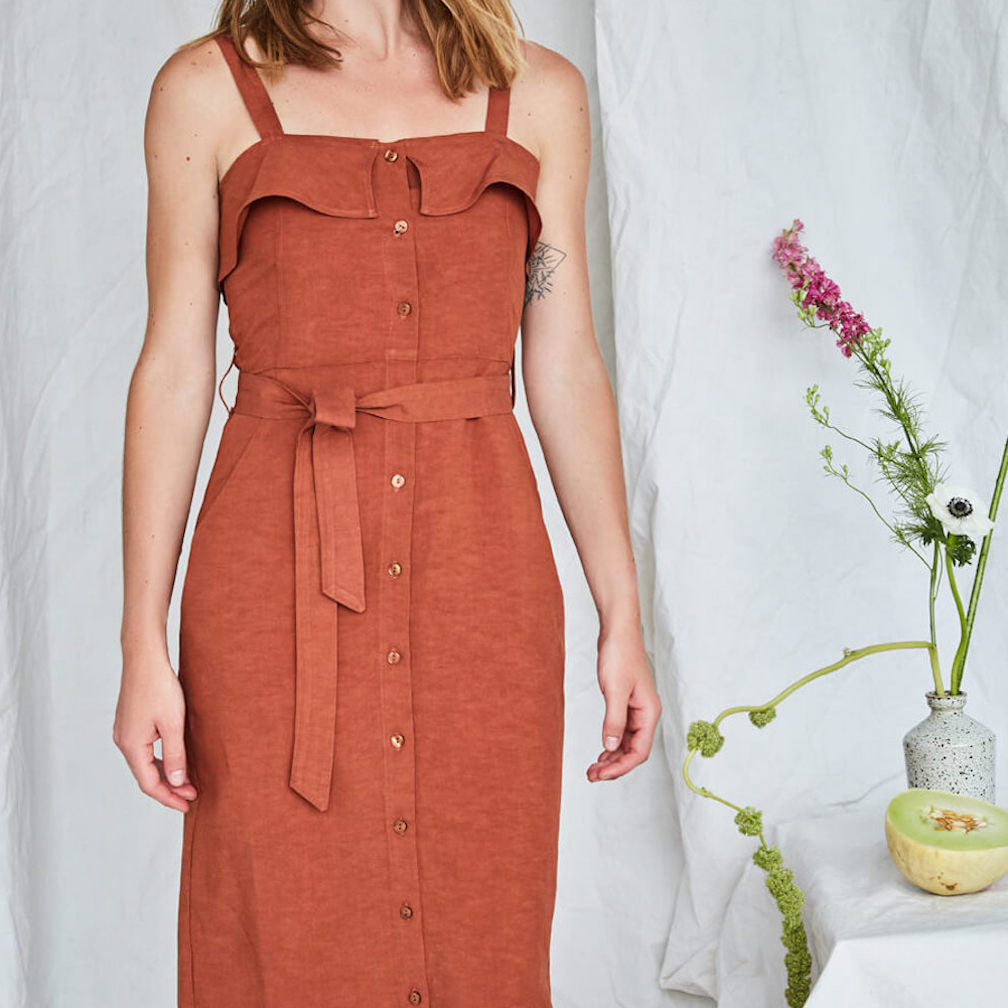Olympia Dress in Mahogany