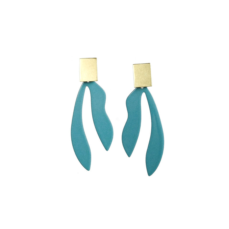 Palm Earrings in Vintage Teal and Brass