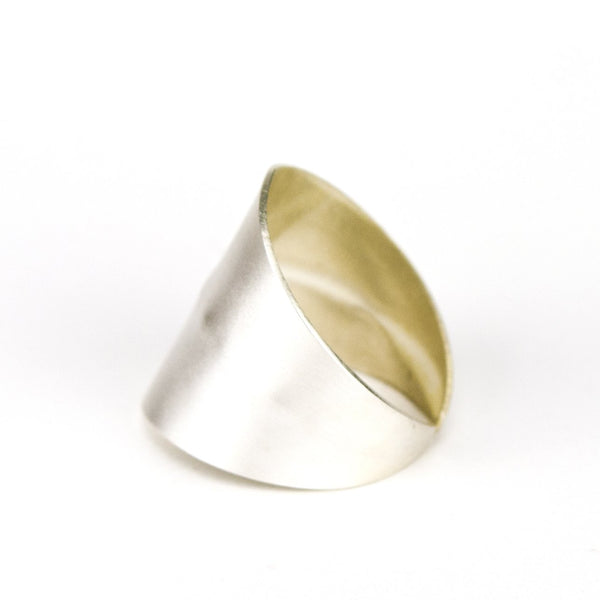 Silver plated wide band ring.