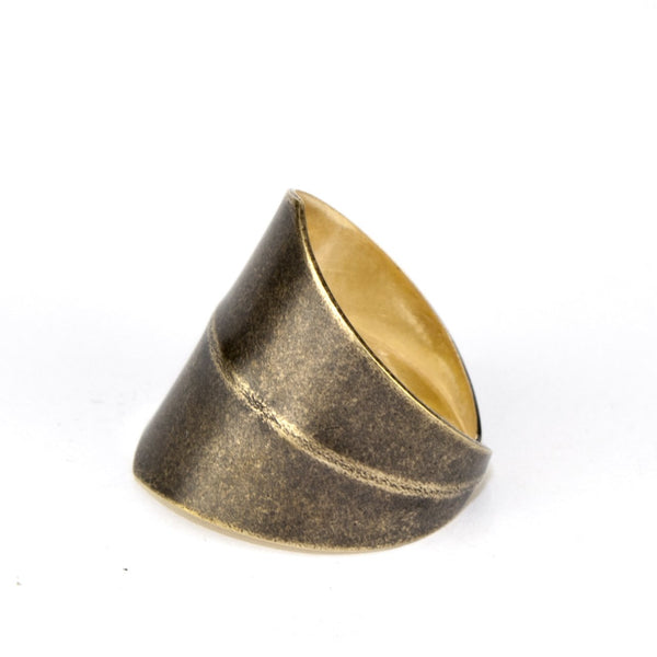 Antiqued brass golden ring.
