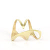 Side view of the Organic Triangle gold ring.