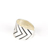 betsy & iya Silver plated Redundant Chevron ring.