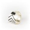 Simple silver ring with chevron design detail on the side.