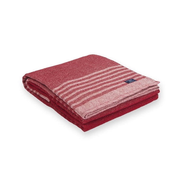 Faribault Red Linear Stripe Cotton Throw