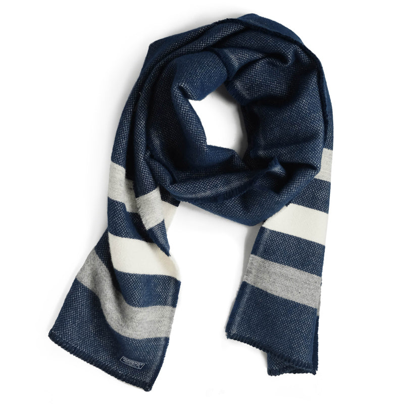 Revival Stripe Scarf in Heather Navy