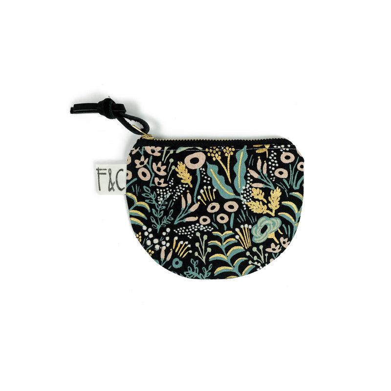 Richmond Half Moon Pouch in Midnight Metallic Garden Linen Canvas