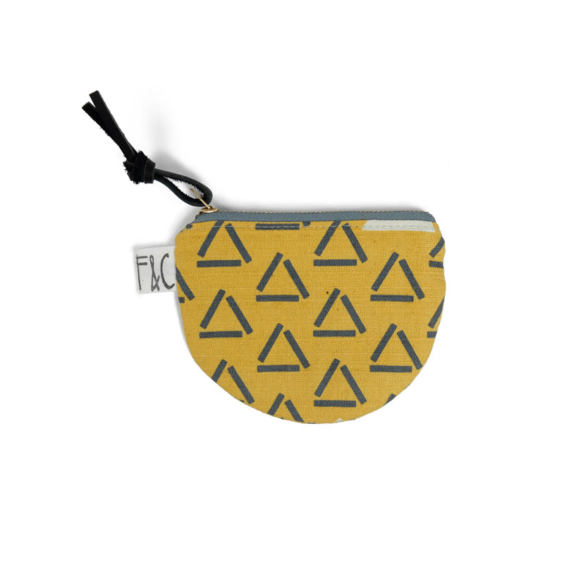 Richmond Half Moon Pouch in Ochre Triangles