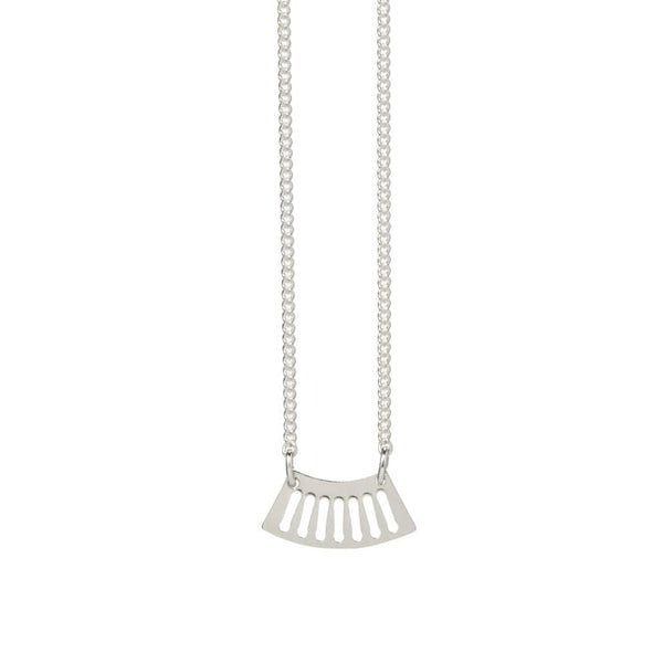 Ritmo mini fan necklace in sterling silver focal