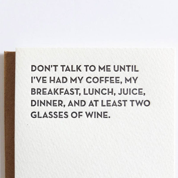 "Sapling Press ""Don't Talk to Me Until Coffee"" Card"