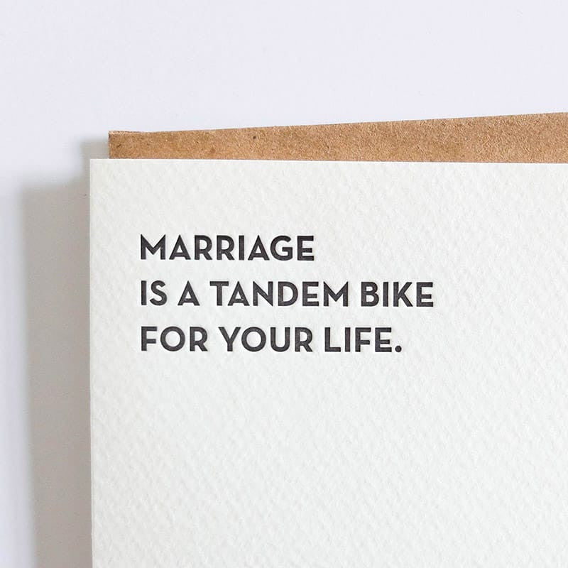 """Marriage is a Tandem Bike"" Card"