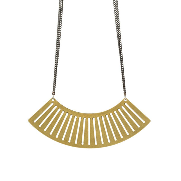 Sona fan pendant necklace in brass focal