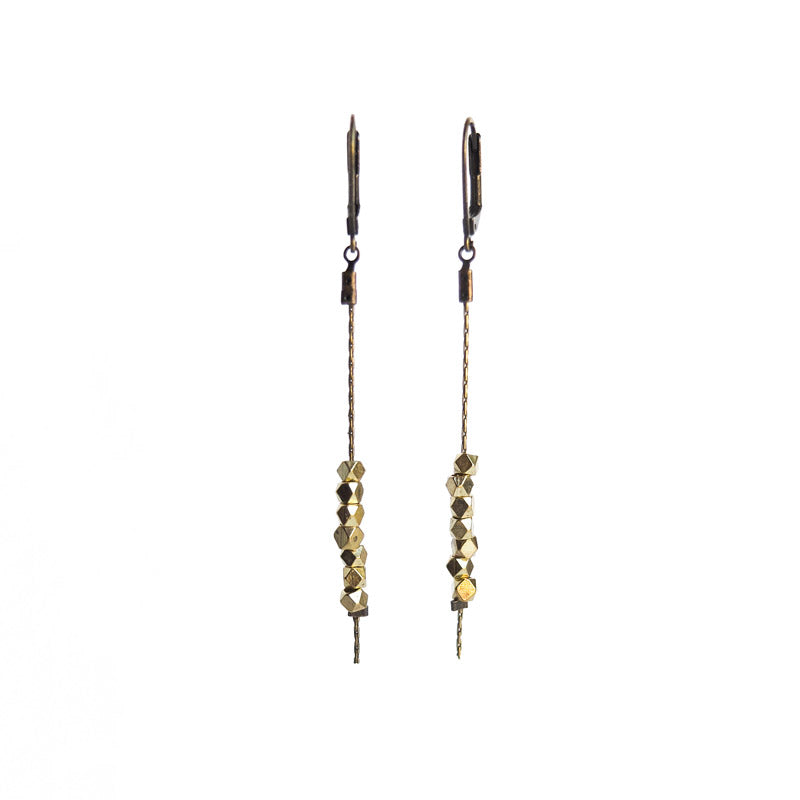 Faceted Bead Earrings - Gold Plated