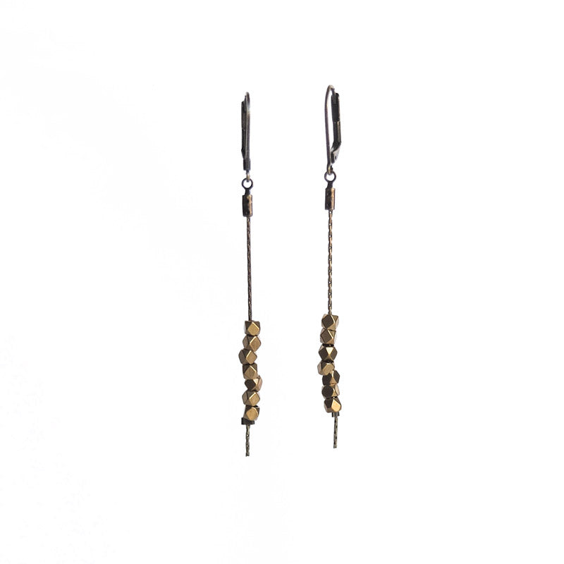 Faceted Bead Earrings - Raw Brass