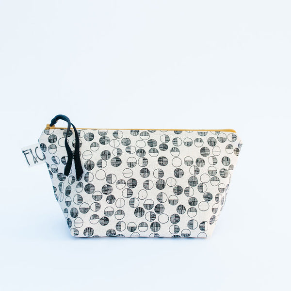 Tabor Cosmetic Bag in Black Circles