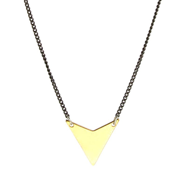 betsy & iya Talus necklace with triangle focal piece.
