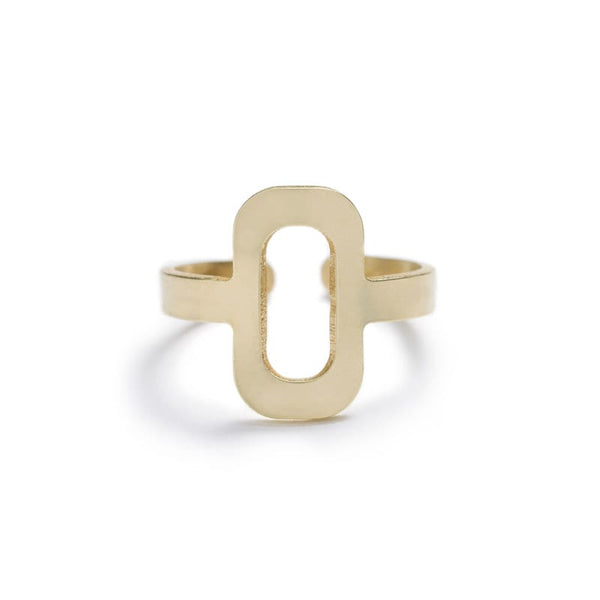 Tambor geometric adjustable ring in brass front view