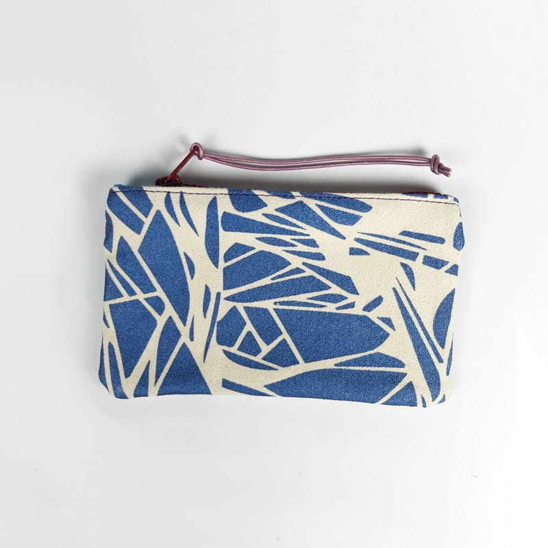 Cosmetic Bag Metallic Blue Glitch