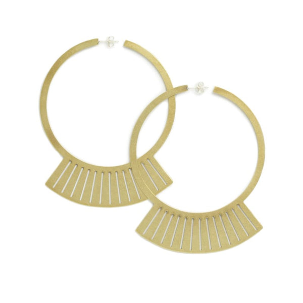 Uba fan hoop earrings in brass front view