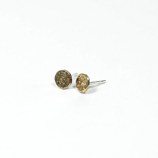 Upper Metal Class Delicate Minimalist Bronze Eclipse Stud Earrings