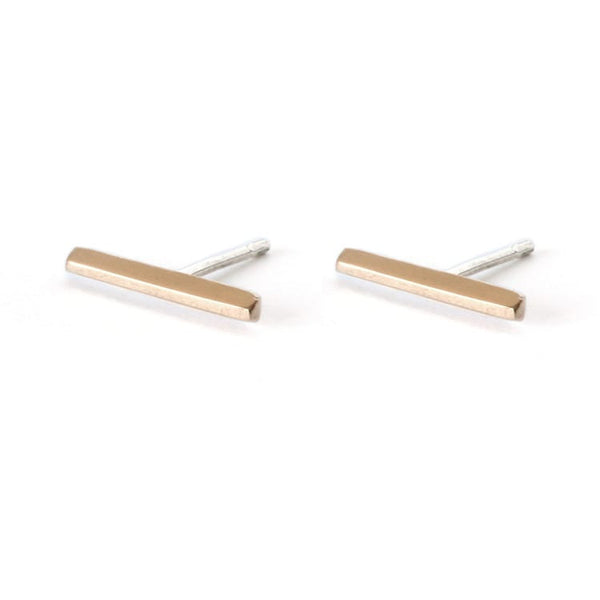 Upper Metal Class Minimalist Faceted Bar Stud Earrings in Bronze