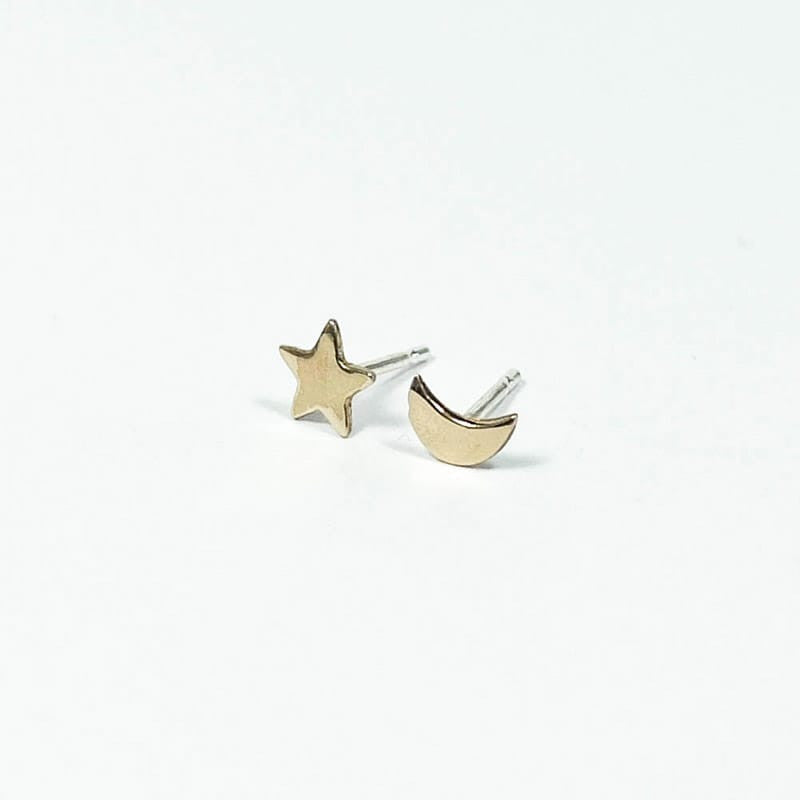 Moon Star Earrings - Bronze