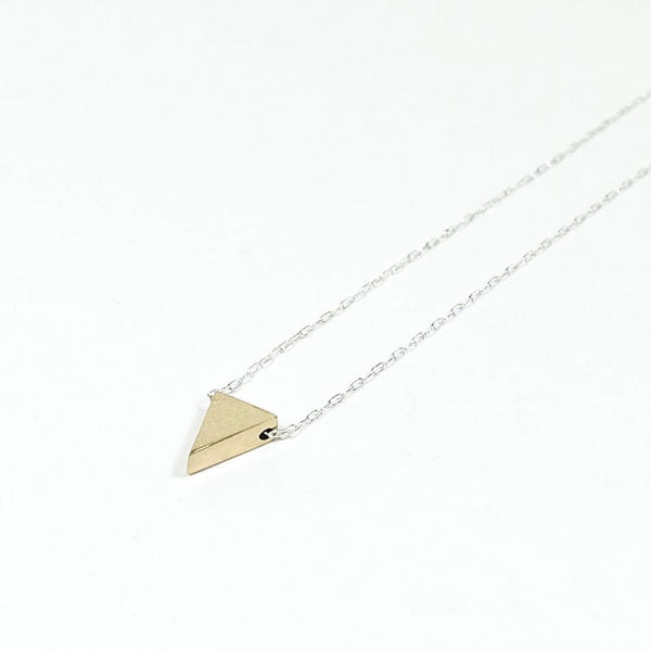 Upper Metal Class Isosceles Triangle Necklace - Bronze