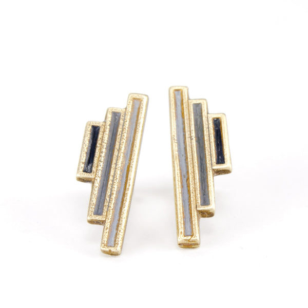 Gold colored vertical post earrings handmade in Portland.