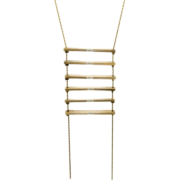 Long necklace with hand painted bronze bars.