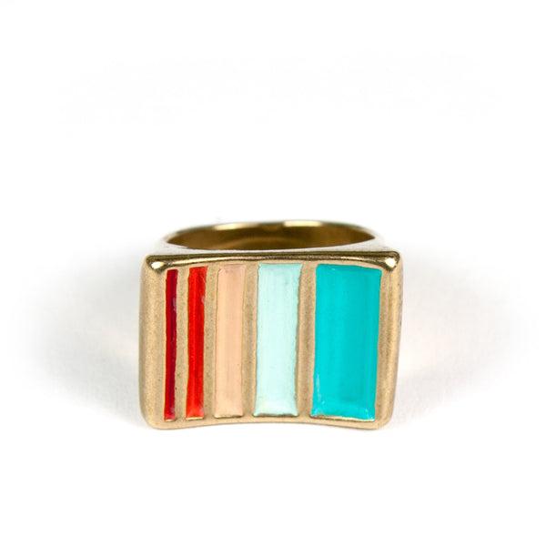 Cast bronze ring with teal, red, and aqua accents handmade in Portland.